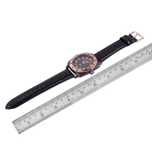 STRADA Japanese Movement Black and Rose Gold Colour Dial Water Resistant Watch in Black Tone with Stainless Steel Back and Black Strap