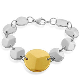 ION Plated Gold and Silver with Stainless Steel Bracelet (Size 7.5)