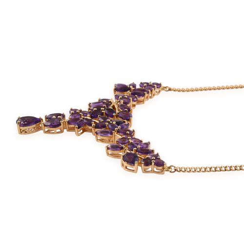 Amethyst (Pear 1.00 Ct) Necklace (Size 18) in 14K Gold Overlay Sterling Silver 14.500 Ct.