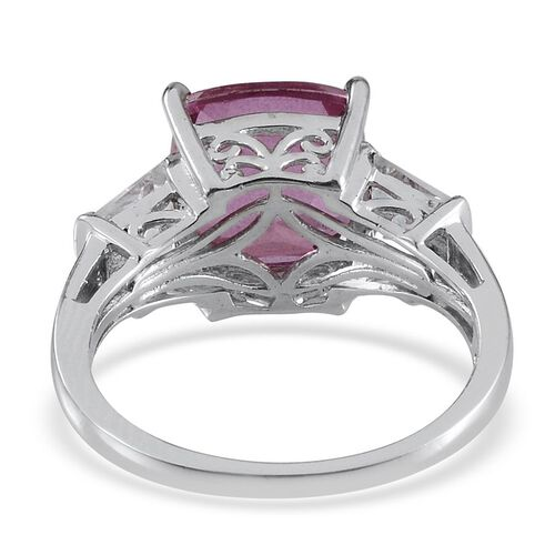 Kunzite Colour Quartz (Cush 4.75 Ct), White Topaz Ring inPlatinum Overlay Sterling Silver 5.750 Ct.