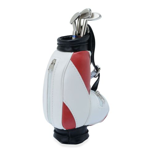 Home Decor - STRADA Japanese Movement White Dial Red and White Colour Golf Bag Design Clock with Three Ball Point Pen