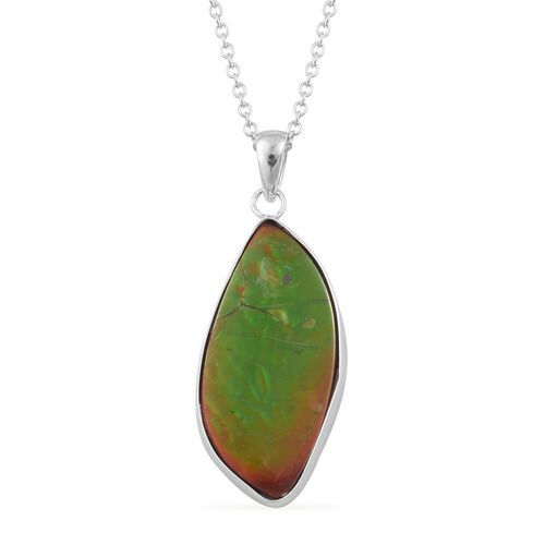 (Option 2) Canadian Ammolite Pendant With Chain in Rhodium Plated Sterling Silver 12.250 Ct.