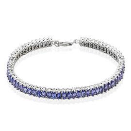 Tanzanite (Mrq), White Topaz Bracelet in Platinum Overlay Sterling Silver (Size 8) 9.250 Ct.