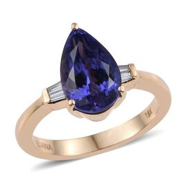 ILIANA 18K Yellow Gold 3.75 Carat AAA Tanzanite Pear Ring, Diamond SI G-H.