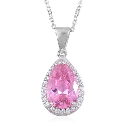 ELANZA AAA Simulated Pink Sapphire and Simulated White Diamond Pendant With Chain in Rhodium Plated Sterling Silver