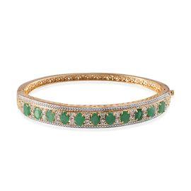 Kagem Zambian Emerald (Ovl), White Topaz Bangle (Size 7.5) in 14K Gold Overlay Sterling Silver 6.750 Ct.