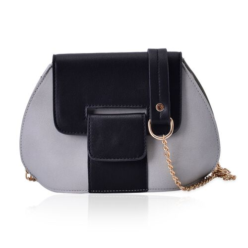 Grey and Black Colour Crossbody Bag with Chain Strap (Size 20x15x10 Cm)