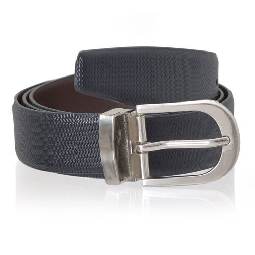 Genuine Leather Black and Brown Colour Mens Belt with Silver Tone Buckle (Size 48.5 inch)