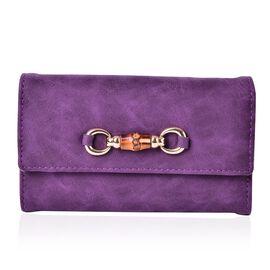 Manhattan Bamboo Design Classic Purple Long Wallet (Size 17x10x2.5 Cm)