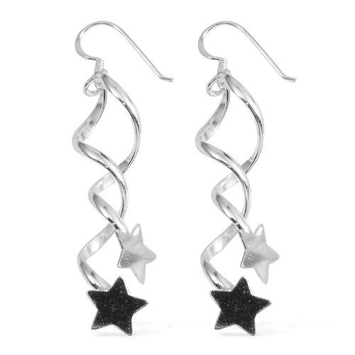 JCK Vegas Collection Sterling Silver Star Drop Hook Earrings, Silver wt 5.50 Gms.