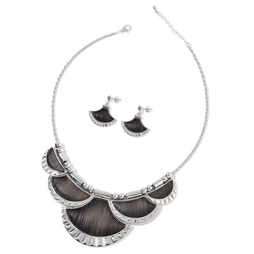 Simulated Black Diamond Necklace (Size 20 with 2 inch Extender) and Earrings (with Push Back) in Silver Tone with Stainless Steel