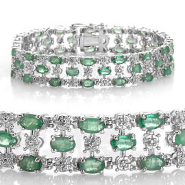 AAA Limited Available Kagem Zambian Emerald (Ovl), Diamond Bracelet in Platinum Overlay Sterling Silver (Size 8) 11.010 Ct.