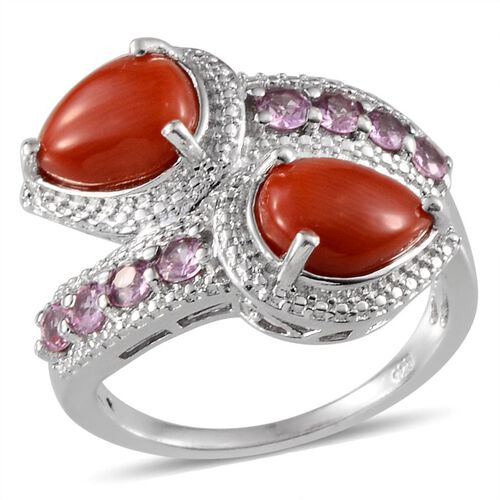 Natural Mediterranean Coral (Pear), Pink Sapphire Crossover Ring in Platinum Overlay Sterling Silver 3.000 Ct.