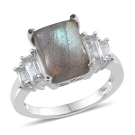 Labradorite (Oct 4.50 Ct), White Topaz Ring in Sterling Silver 5.750 Ct.