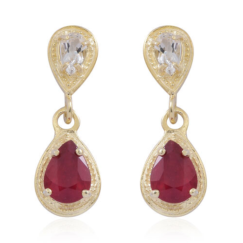 African Ruby (Pear), White Topaz Earrings (with Push Back) in 9K Gold Overlay Sterling Silver 2.600 Ct.