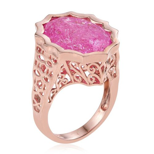 Hot Pink Crackled Quartz (Ovl) Ring in Rose Gold Overlay Sterling Silver 16.500 Ct.