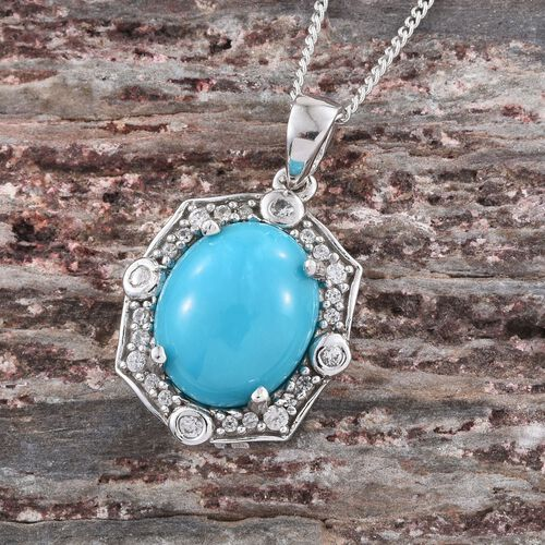 Arizona Sleeping Beauty Turquoise (Ovl 3.00 Ct), Natural Cambodian Zircon Pendant with Chain in Platinum Overlay Sterling Silver 3.500 Ct.