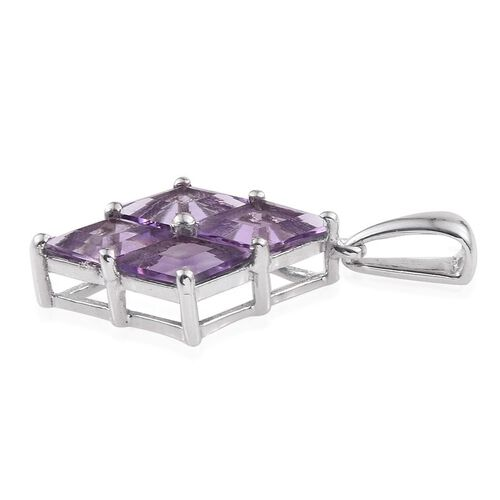 Rose De France Amethyst Pendant in Platinum Overlay Sterling Silver 3.250 Ct.