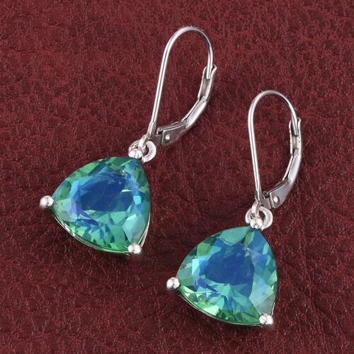 Peacock Quartz (Trl) Lever Back Earrings in Platinum Overlay Sterling Silver 10.000 Ct.