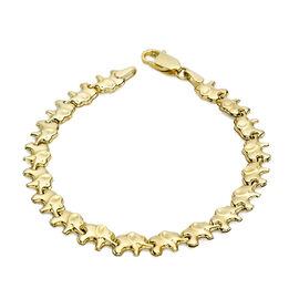 9K Yellow Gold Good Luck Elephant Link Bracelet (Size 7.5), Gold wt 3.40 Gms.