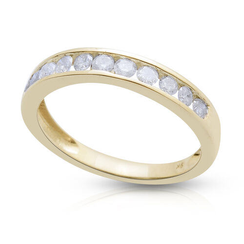 9K Y Gold SGL Certified Diamond (Rnd) (I3/G-H) Half Eternity Band Ring 0.500 Ct.