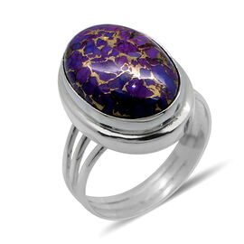 Royal Bali Collection Mohave Purple Turquoise (Ovl) Solitaire Ring in Sterling Silver 12.190 Ct.