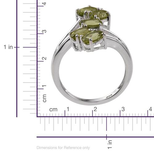 AA Hebei Peridot (Ovl) 5 Stone Crossover Ring in Sterling Silver 2.250 Ct.