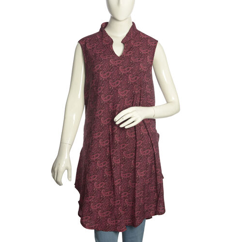 Red and Multi Colour Paisley Pattern Top with Adjustable Waist Band (Free Size)
