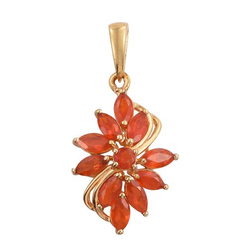 Jalisco Fire Opal (Rnd) Pendant in 14K Gold Overlay Sterling Silver 1.000 Ct.