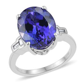 RHAPSODY 950 Platinum AAAA Tanzanite (Ovl 9.20 Ct), Diamond (VS-E-F) Ring 9.400 Ct. Platinum Wt 6.75 Gms.