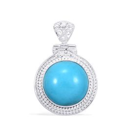 Jewels of India Arizona Sleeping Beauty Turquoise (Rnd) Solitaire Pendant in Sterling Silver 14.320 Ct.