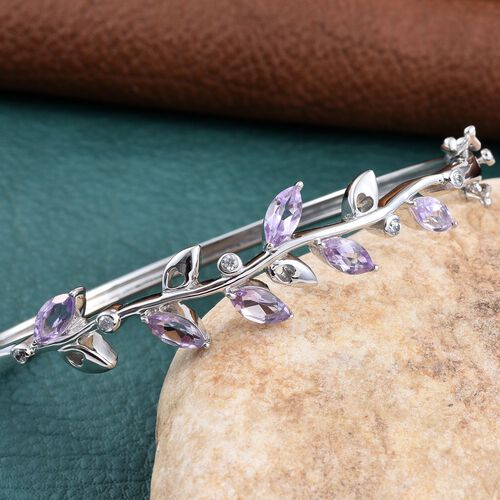 Kimberley Wild at Heart Collection Amethyst (Mrq), Natural Cambodian Zircon Leaves Bangle (Size 7.5) in Platinum Overlay Sterling Silver 3.500 Ct.