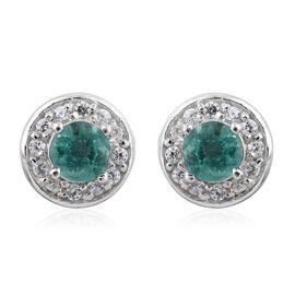 Zambian Emerald, Natural Cambodian Zircon 0.99 Ct Halo Stud Earrings in Platinum Overlay
