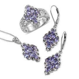 Tanzanite (Ovl) Ring, Pendant and Lever Back Earrings in Platinum Overlay Sterling Silver 4.500 Ct.