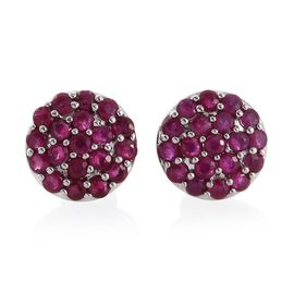 RHAPSODY 950 Platinum 1.75 Ct AAAA Burmese Ruby Pave Disc Stud Earrings with Screw Back