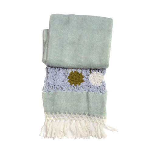 Light Turquoise Colour Scarf with Fringes (Size 200x30 Cm)