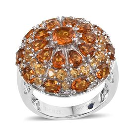 GP Madeira Citrine (Rnd), Citrine and Kanchanaburi Blue Sapphire Ring in Platinum Overlay Sterling Silver 4.750 Ct.
