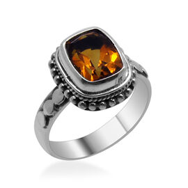 Royal Bali Collection Citrine (Cush) Solitaire Ring in Sterling Silver 2.700 Ct.