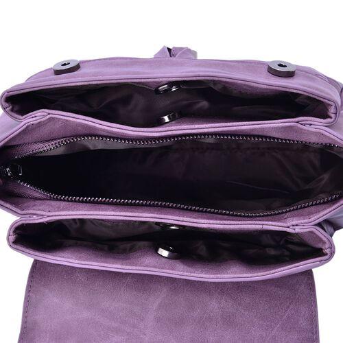 Purple Colour Diamond Cut Pattern Handbag With Adjustable and Removable Shoulder Strap (Size 27.5x21x12 Cm)