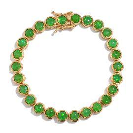 Green Ethiopian Opal (Rnd) Bracelet (Size 7) in 14K Gold Overlay Sterling Silver 7.000 Ct.