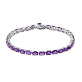 Amethyst (Ovl) Bracelet (Size 7.5) in Platinum Overlay Sterling Silver 13.500 Ct.