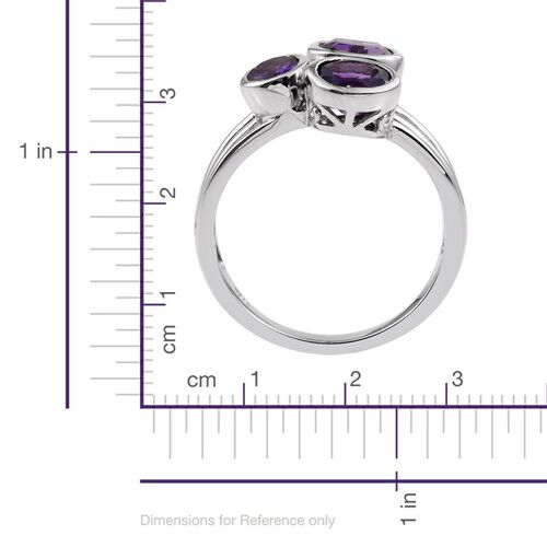 Natural Uruguay Amethyst (Cush 1.40 Ct) Ring in Platinum Overlay Sterling Silver 3.250 Ct.