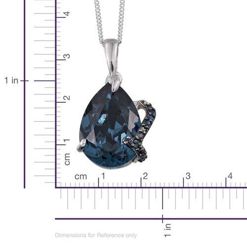 Crystal from Swarovski - Montana Crystal (Pear), Blue Diamond Pendant With Chain in Platinum Overlay Sterling Silver