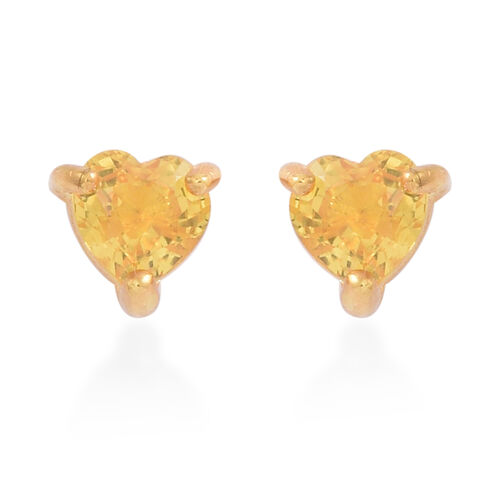 Yellow Sapphire (Hrt) Stud Earrings (with Push Back) in 14K Gold Overlay Sterling Silver 1.000 Ct.