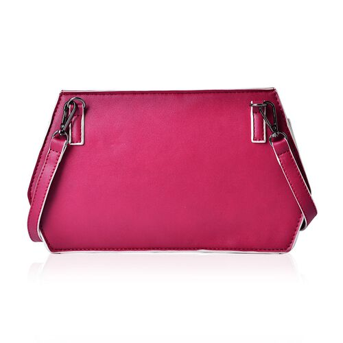 Classic Fuchsia and White Colour Crossbody Bag with Adjustable and Removable Shoulder Strap (Size 27.5x16.5x6 Cm)