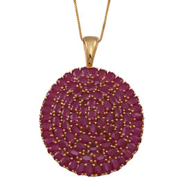 Burmese Ruby (Ovl) Cluster Pendant With Box Chain (Size 24) in 14K Gold Overlay Sterling Silver 25.000 Ct.