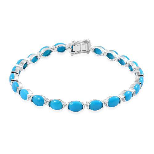 AAA Arizona Sleeping Beauty Turquoise (Ovl) Tennis Bracelet (Size 7.75) in Platinum Overlay Sterling Silver 12.500 Ct.