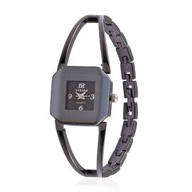 STRADA Japanese Movement Black Dial Water Resistant Watch in Black Tone with Stainless Steel Back and Chain Strap