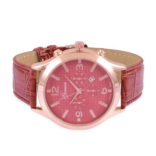 GENOA Japanese Movement Rose Gold Colour Dial Water Resistant Watch in Rose Gold Tone with Stainless Steel Back and Chocolate Strap