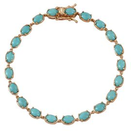 Sonoran Turquoise (Ovl) Bracelet (Size 7.5) in 14K Gold Overlay Sterling Silver 9.500 Ct.